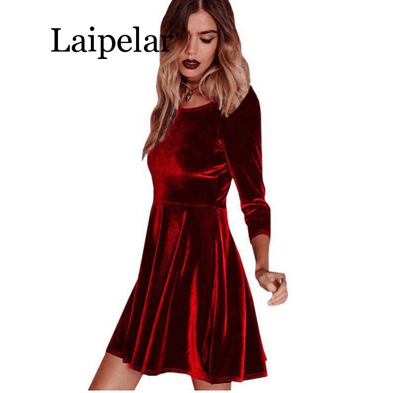 2020 New Women Swing Hem Velvet Dress Autumn Ladies Party Mini Dress Vestidos Velour Dress Long Sleeve Slim Tops