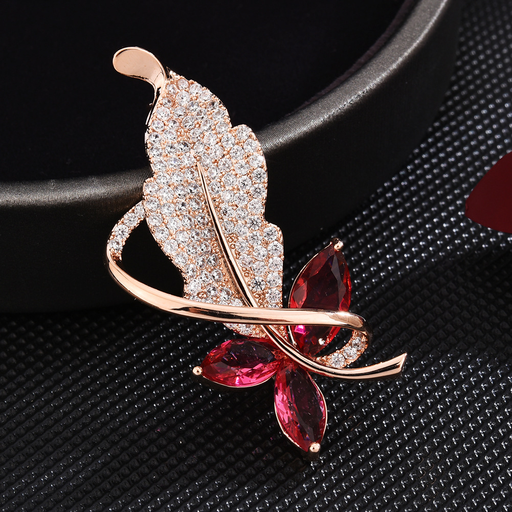 Gold Leaf Zircon Brooch Pin for Women's Red Crystal Brooch Jewelry Clothes Scarf Buckle Garment Accessories Fine Jewelry Gifts-1