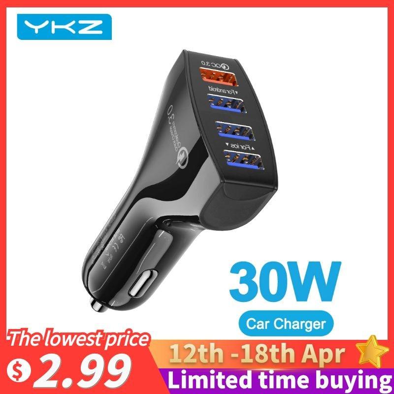 YKZ автомобильное USB зарядное устройство Quick Charge 3,0 4,0 Универсальный 30 Вт быстрой зарядки в автомобиле с 4 портами зарядное устройство для iPhone, ...