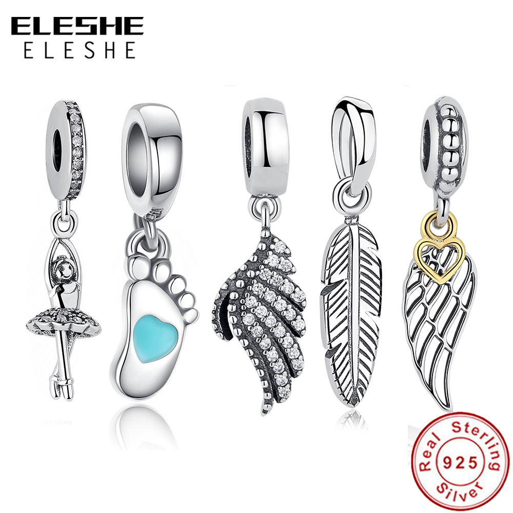 ELESHE Authentic 925 Sterling Silver Wing Pendant Dangle Charm Beads Fit Pandora Bracelet Necklace Original Jewelry Accessories|beads fit|tibetan silverbeads accessories - AliExpress