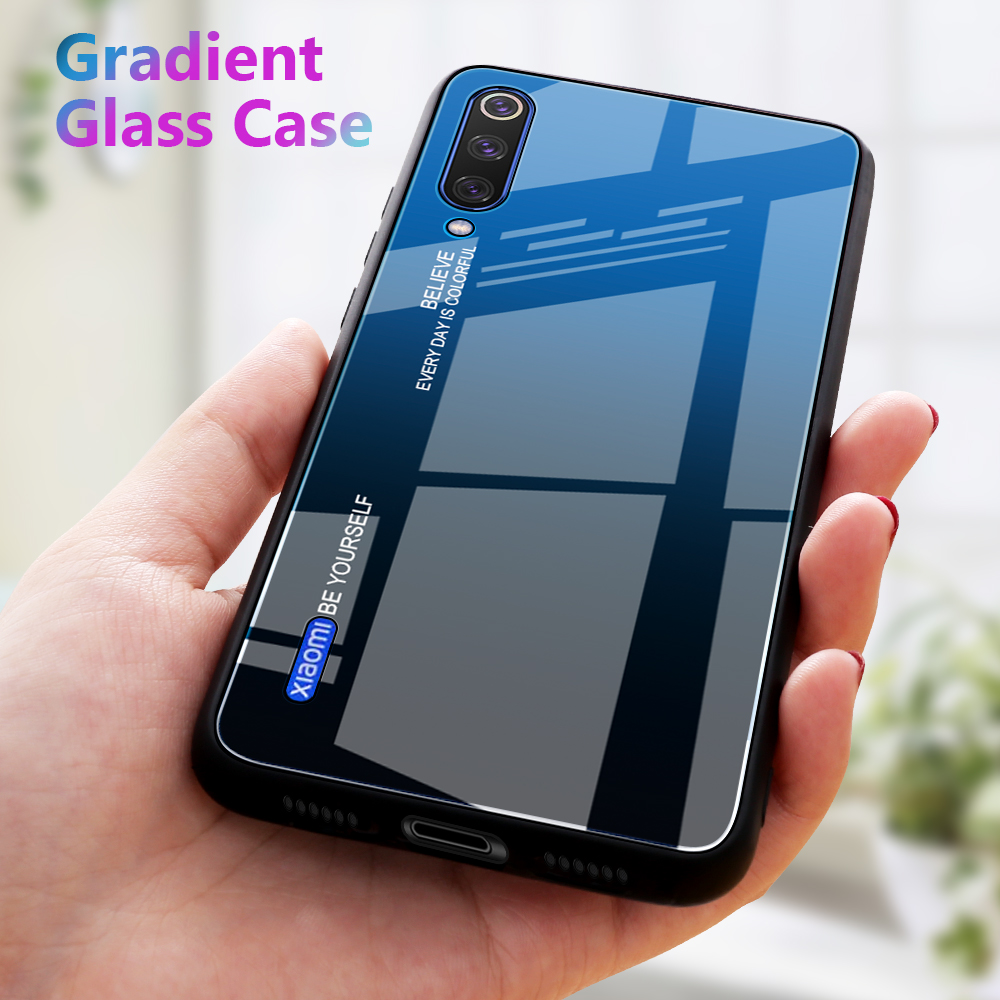 Gradient Phone Case For Xiaomi Mi A3 Mi 9t Pro 9 SE Mi9 Lite CC9e CC9 Case Tempered Glass Cover For Xiaomi Mi9 T Mi9T Shell(China)