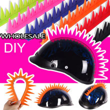 Diy Motorhelm Decor Punk Haar Kleurrijke Hanekam Siliconen Sticker Motocross Full Face Off Road Helmen Voor Cosplay Party
