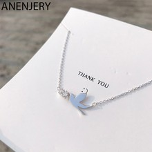 ANENJERY Minimalist 925 Sterling Silver Pigeon Necklaces For Women Zircon choker collares S-N467(China)