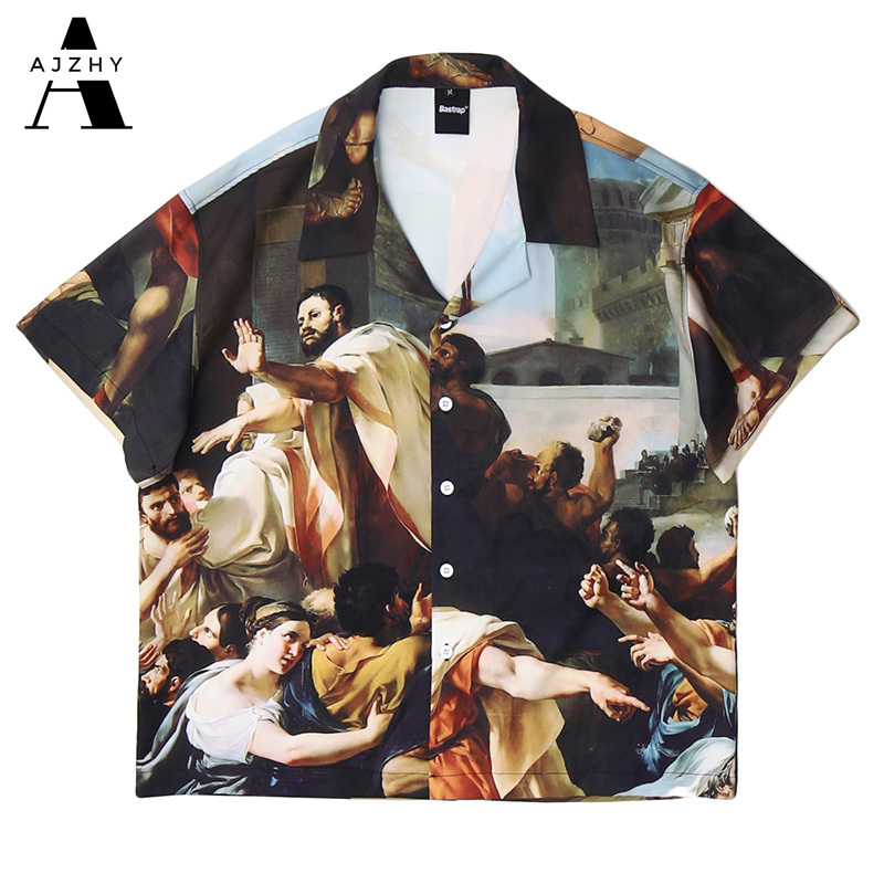 Vintage Painting Print Shirt for Men Fashion Casual Cotton Short Sleeve Shirt 2020 Summer Harajuku Hip Hop Streetwear Loose Tops