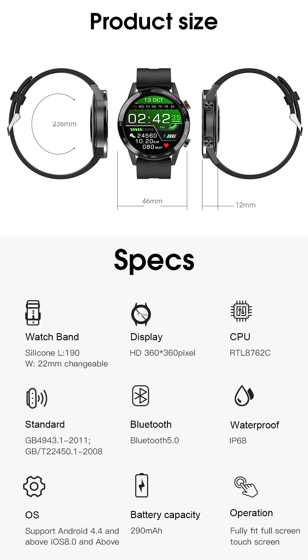 Hc344e41c743f4455977fce8af981b6293 Reloj Inteligente Hombre Smartwatch Ecg Ppg IP68 Smarthwatch Men Full Touch Smart Watch 2020 For Huawei Xiaomi Android Apple IOS