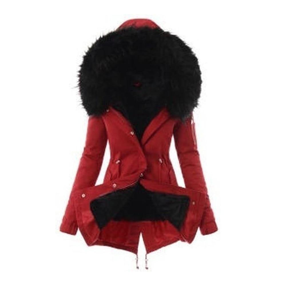 PUIMENTIUA Women Winter Warm Coat Female Autumn Hooded Cotton Fur Plus Size   Basic     Jacket   Outerwear Slim Long Ladies Chaqueta