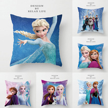 Disney Cartoon Cushion Cover Frozen Queen Collection Elsa Anna Princess PillowCase Decorative/Nap Room Sofa Baby Children Gift
