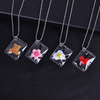 Cute Childlike Necklace Transparent Candy Bear Cookie Resin Necklaces for Couple Valentine's Day Necklace Jewelry Gift image