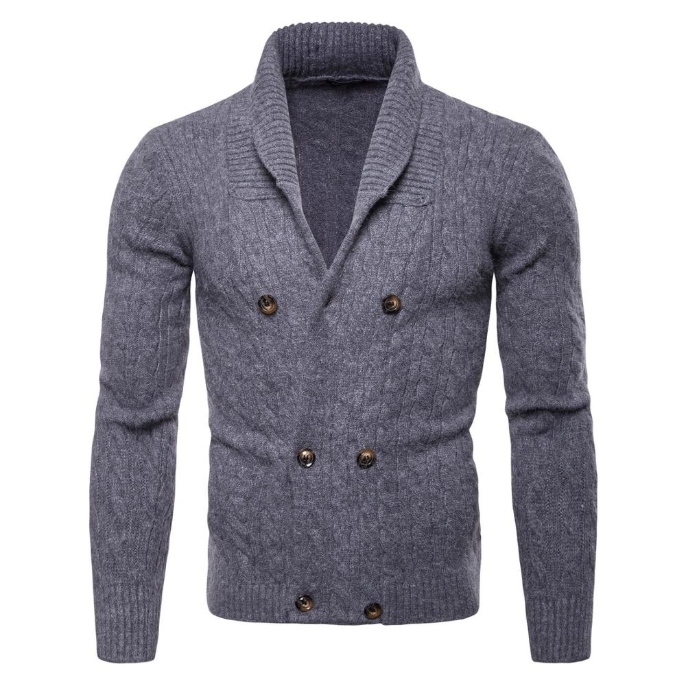 2019 Men's High-necked Sweaters Irregular Design Top Male Sweater Solid Color