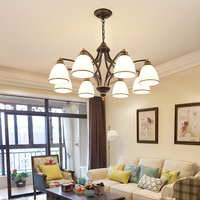 American Iron Glass Chandelier Lighting Modern Simple Home Living Room Decoration Lamp Retro Restaurant Bedroom Gold Chandeliers