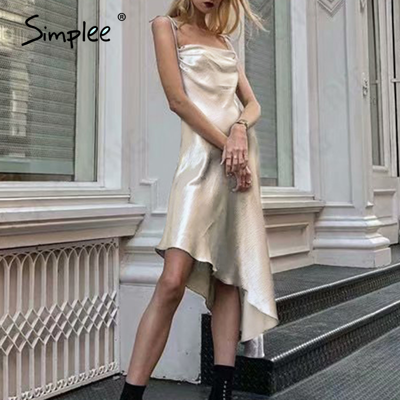 Simplee Sexy Spaghetti Strap Women Party Dress A Line Sleeveless Asymmetrical Female Midi Sundress Club Style Lady Summer Dress
