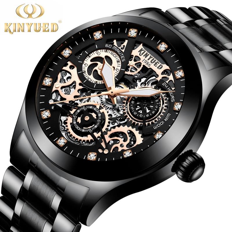 KINYUED Transparent Fashion Diamond Display Luminous Hands Gear Movement Retro Royal Design Men Mechanical Skeleton Wristwatches|Mechanical Watches| |  - title=
