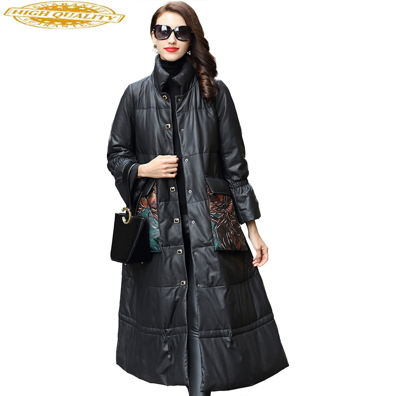 Women's Winter Jackets Genuine Leather Jacket Women Long Down Coats Natural Sheepskin Coat Female Chaqueta Mujer 61100B