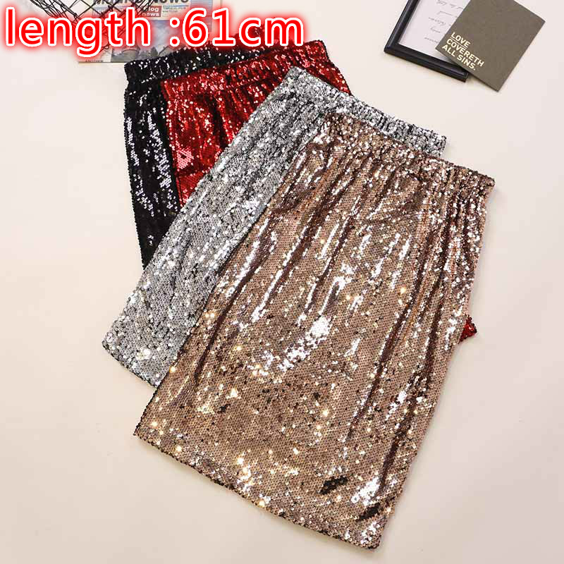 Sexy Fashion Gold Sequins Skirts Lady Evening Dance Skirts Female Shiny Sequins Silver Skirts Party Club Wear