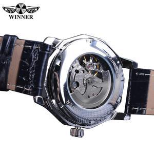 Image 5 - Winner Blue Ocean Geometry Design Transparent Skeleton Dial Mens Watch Top Brand Luxury Automatic Fashion Mechanical Watch Clock