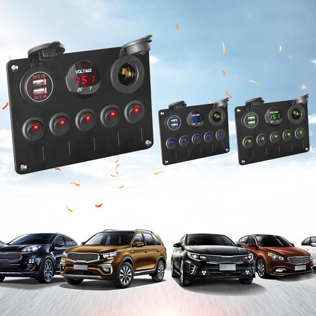 12V Socket Combination Digital Voltmeter Dual USB Port Waterproof For Car And Marine LED Rocker Switch Panel