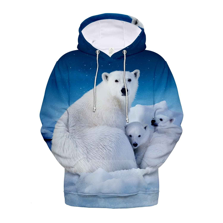 2019 Animal Polar Bear Pattern 3d Sweatshirt Hoodies Men And Women Hoodies Plus Size 4XL Oversized Hoodie Fashion Clothing