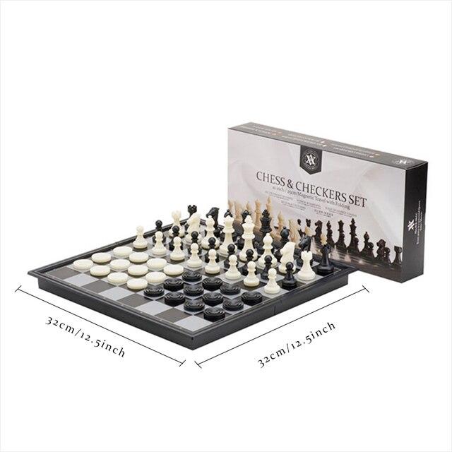 Jeu d'échecs International mégnétique haut de gamme avec jeu de damme Backgammon inclu pliable 6