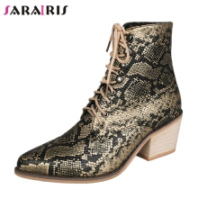 SARAIRIS Autumn New Drop Ship 35-43 Printed lace-up Booties Ladies High Heels Ankle Chelsea Boots Women 2019 OL Shoes Woman