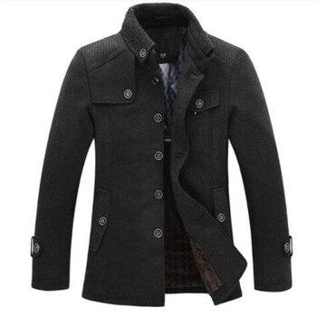dropshipping New Brand Winter Men's Wool Jacket Casual Coat Mens Thicken Jackets Men Overcoat Black/Gray Plus Size M-XXXL