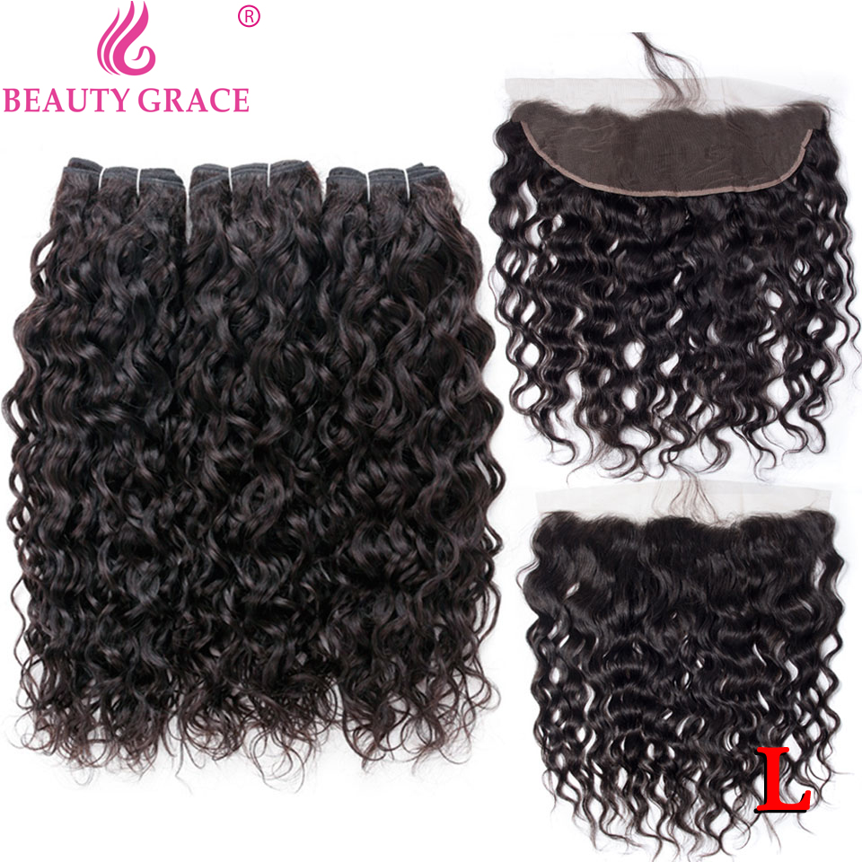 Water Wave Bundles With Frontal Brazilian Human Hair Weave Bundles With 13*4 Lace Frontal Closure Non-Remy
