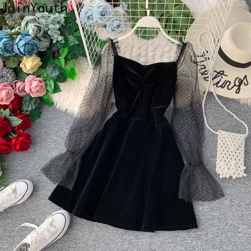 JoinYouth 2020 Autumn Pleuche Party Dress Puff Sleeve Mesh Patchwork Women Mini Dresses A-line Pleated Vintage Vestidos J164
