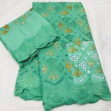 Emerald Green Renda Kain Kualitas Tinggi Swiss Voile Renda Di Swiss Renda Bordir Tissus Africain Broderie 7 Yard(China)