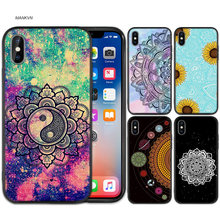 Mandala sunfl Zwart Rubber Zachte TPU Silicone Case Cover voor iPhone X XS XR XS 11 11Pro Max 7 8 6 6S 5 5S 5C SE Plus Fundas Capa(China)