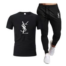 Men's Cotton Sportswear Two Pieces Sets Casual Fitness Run Suit Short Sleeve T Shirt+Trousers Comfortable Sweat Sportswear Suit