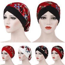 מודפס בגדים אסלאמיים נשים פרחוני הודו כובע מוסלמי לפרוע סרטן חמו כפת טורבן לעטוף כובע צעיף Turbantes בארה ב