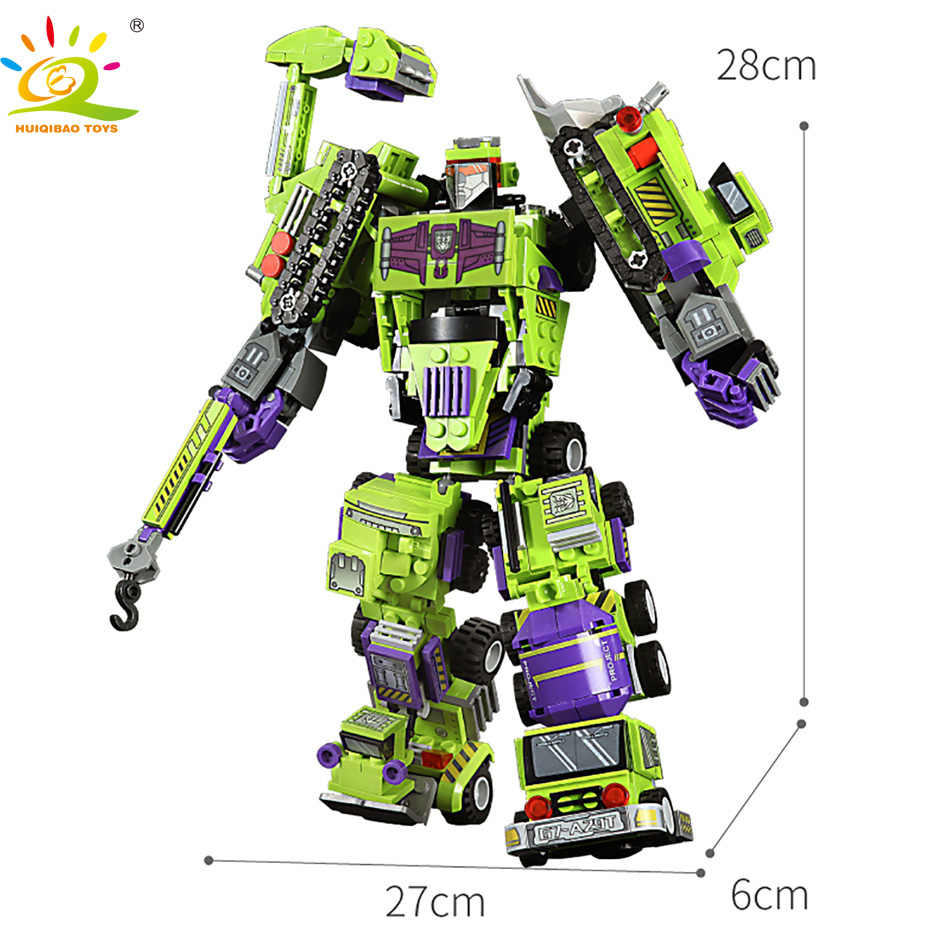 709 Cái 6in1 Robot Biến Hình Khối Xây Dựng Thành Phố Kỹ Thuật Máy Xúc Xe Tải Xe Tải Hàm Dựng Gạch Đồ Chơi Cho Trẻ Em