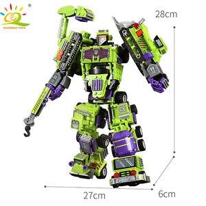Image 5 - 709pcs 6in1 Transformation Robot Building Block City Engineering Excavator car truck constructor Bricks toy For Children