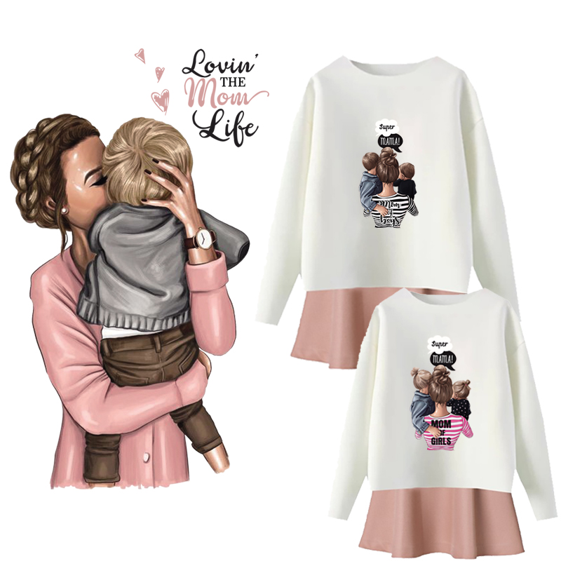 Fashion Mom Girls Patches Heat Transfer Diy T-Shirt Jacket Hoodie Family Iron On Patch Grade-A Thermal Transfer Stickers