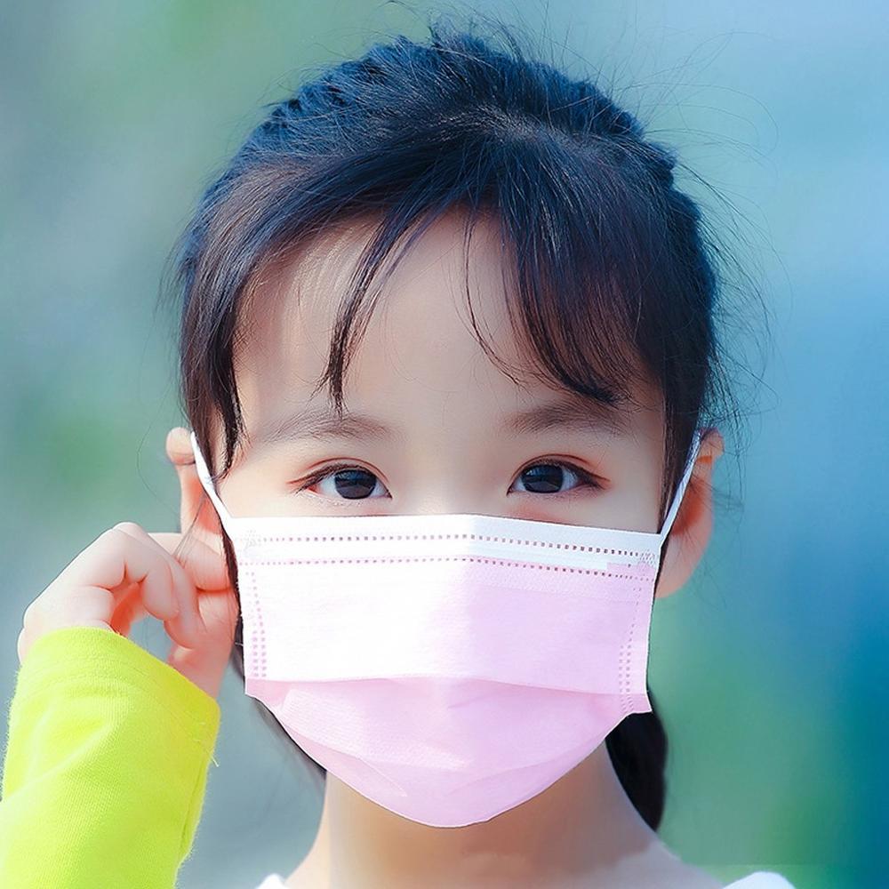 Crianças descartáveis máscara facial 3 camadas não-tecido rosa crianças poeira máscaras de boca filtro de proteção meninos meninas respirável mascarilla