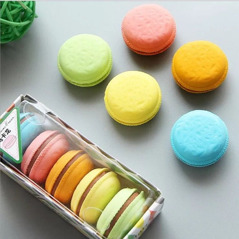 5 Pcs/set Macaron Color Erasers Cute Filling Cake Rubber Eraser For Pens Kids Gift Novelty Stationery Office School A6471