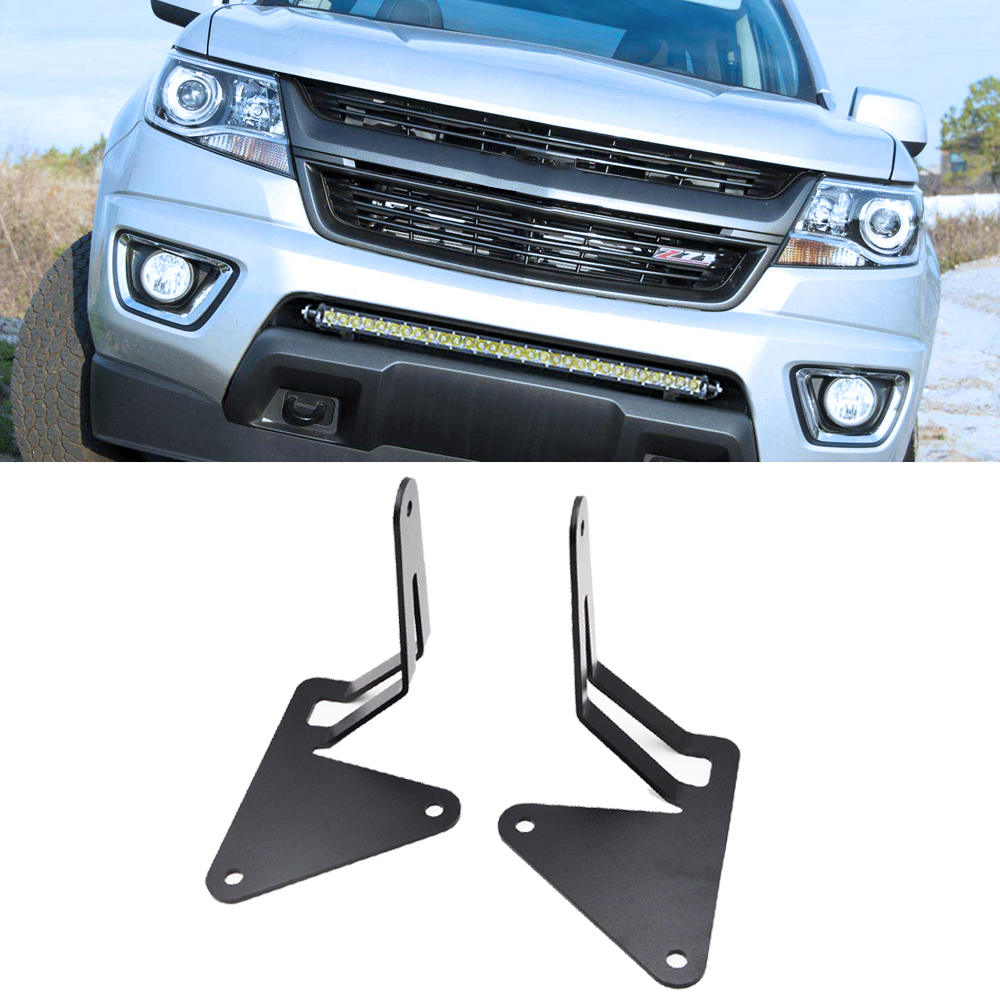 Lower Bumper Grille Hidden Insert LED Light Bar Mounting Brackets For GMC Canyon Chevrolet Colorado 4WD/2WD 2015-2019