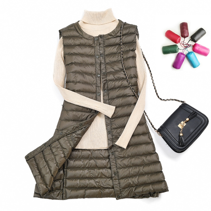 Autumn Winter Women Vest 2019 Plus Size Long Sleeveless White Duck Down Vests Coat Casual Jacket Ultra-thin Light Weight Outwear