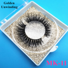 Golden Unwinding MK-11 3d mink eyelashes bulk 8-15mm natural long false eyelashes mink lashes custom box vendor
