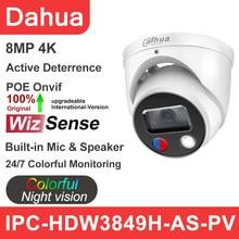 Dahua Caméra IP 8MP IPC-HDW3849H-AS-PV Couleur Active Dissuasion 4K 5MP HD POE Intégré Haut-Parleur de Microphone CCTV Caméra