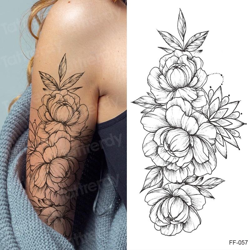 tattoo sticker women flower rose peony black tatouage temporaire femme temporary sleeve tattoo waterproof sexy body art fashion 1