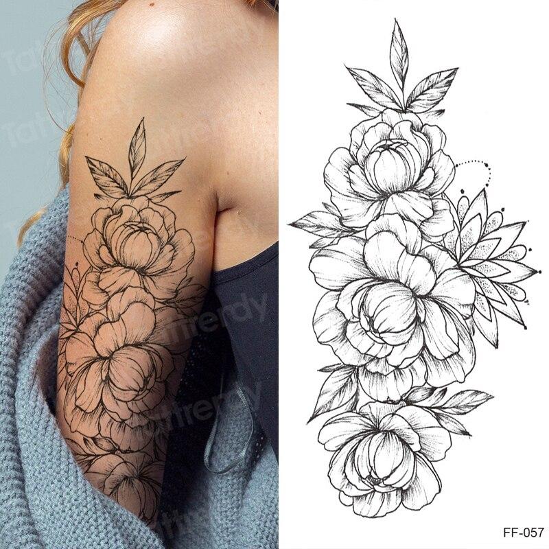 Tattoo Sticker Women Flower Rose Peony Black Tatouage Temporaire Femme Temporary Sleeve Tattoo Waterproof Sexy Body Art Fashion Temporary Tattoos Aliexpress