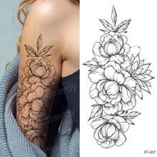 Pegatina de tatuaje para mujer, tatuaje temporal de manga temporal, rosa, peonía, negro, a prueba de agua, sexy, arte corporal, moda