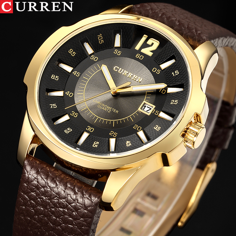 Men's Sports Watch Top Brand Luxury Men's Watch Waterproof Quartz Watches Leather Military Fashion <font><b>Curren</b></font> Watch Men Wholesale image