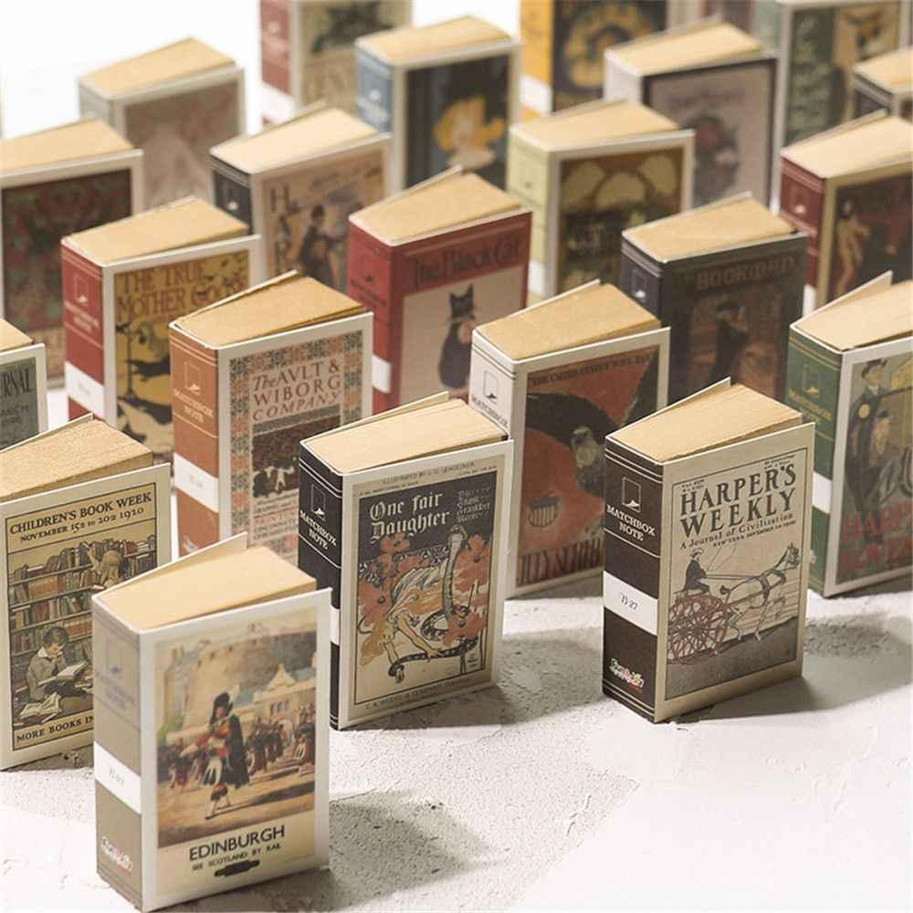 122 Lembar Mini Memo Pad Kreatif Kotak Korek Api Retro Notebook Dapat Air Mata Lengket Catatan Kawaii Stationery Notepad Sekolah Office Supplies