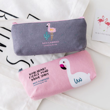 Simple cute flamingo canvas pencil case female student small fresh zipper large capacity stationery bag cosmetic bag pencil case