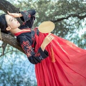 Image 5 - Hanfu Chinese Dans Kostuum Traditionele Podium Outfit Voor Zangers Vrouwen Oude Jurk Folk Festival Prestaties Kleding DC1133