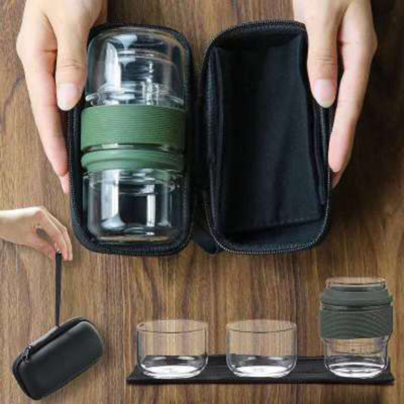 Travel Tea Set Kung Fu Tea Pot With Portable Case Glass Teacups With Infuser For Travel Home  HUG-Deals