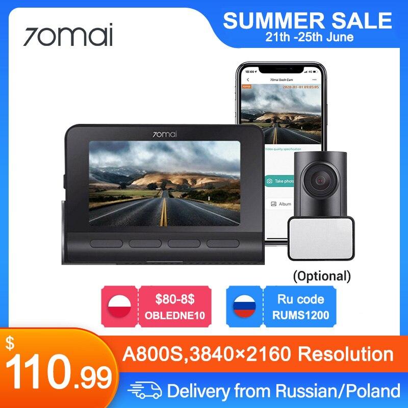 70mai A800S 4K Dash Камера A800S Dash Cam со сверхвысоким разрешением Ultra HD, UHD 2160P Разрешение A800S + 70mai сзади Камера RC06, GPS, 2,4/5G Wi-Fi