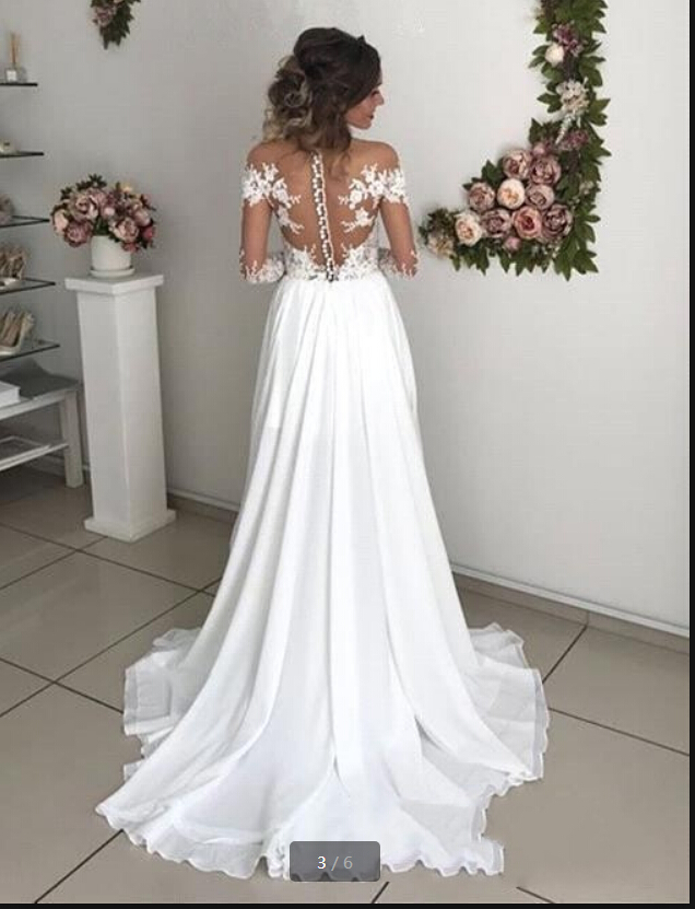 New arrival white chiffon a line long sleeve lace appliques formal wedding dresses scoop neck with slit sexy beaded wedding gown