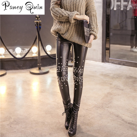 Plus velvet Leather leggings women Sequins tide punk leather pants leggings Rivets punk Pencil Pants women plus size leggings Lahore